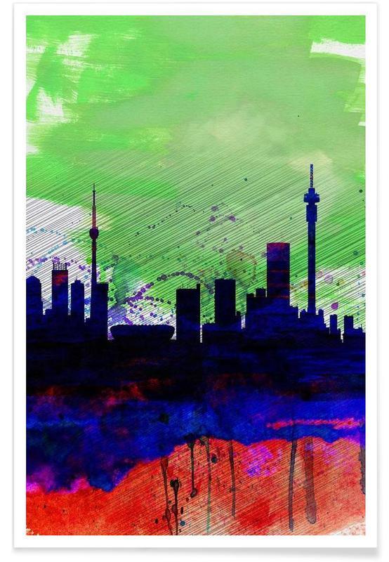 Johannesburg Watercolor Skyline Poster