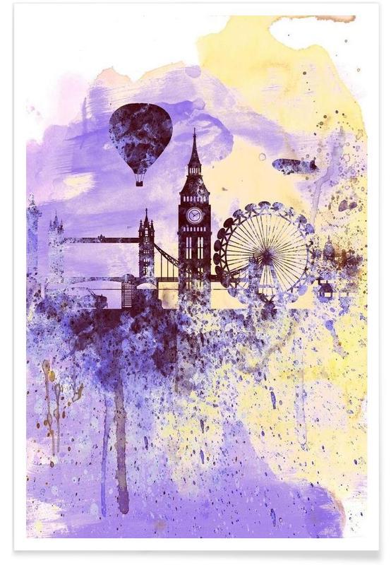 Londres, London Watercolor Skyline 2 affiche
