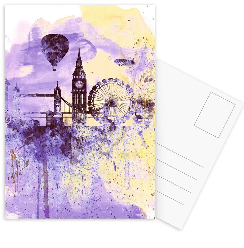 London, London Watercolor Skyline 2 Postcard Set