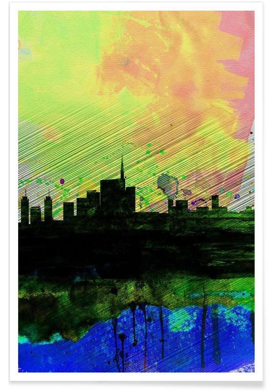 Milan, Milan Watercolor Skyline 2 affiche