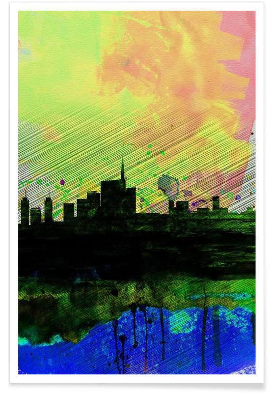 Milan Watercolor Skyline 2 Poster