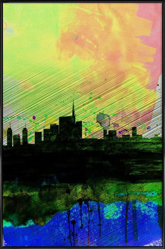Milan Watercolor Skyline 2 -Bild mit Kunststoffrahmen
