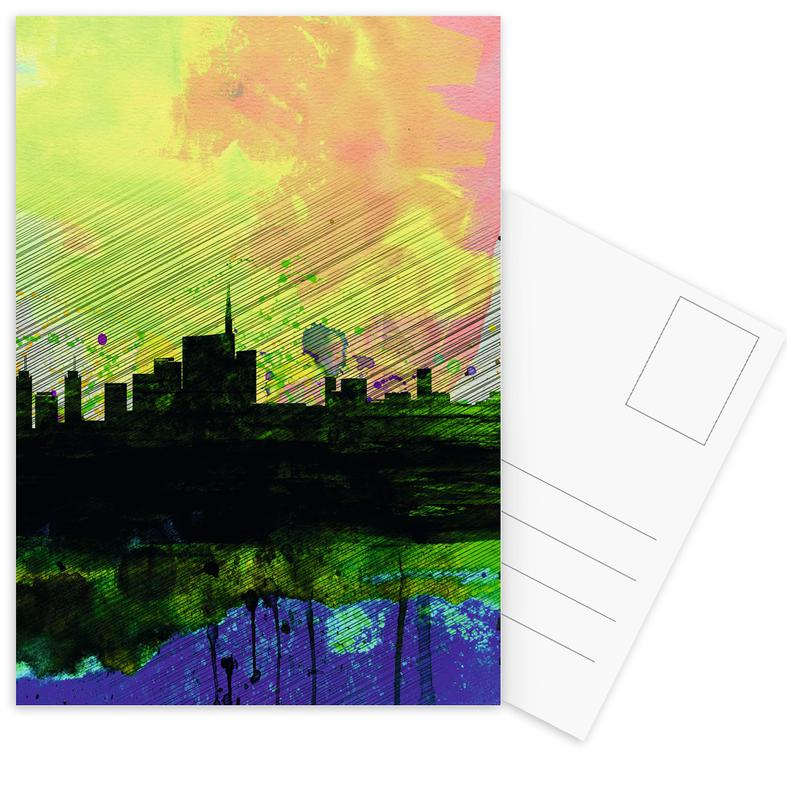 Milaan, Milan Watercolor Skyline 2 ansichtkaartenset