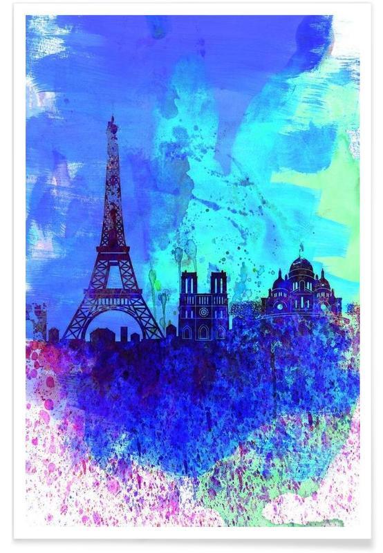 Paris, Paris Watercolor Skyline affiche