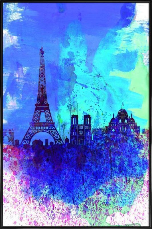 Paris Watercolor Skyline Framed Poster