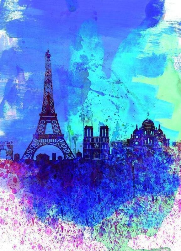 Paris Watercolor Skyline -Leinwandbild