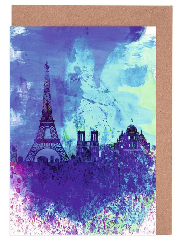 Paris, Paris Watercolor Skyline Greeting Card Set