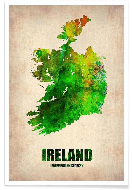 Irlande - Carte en aquarelle affiche