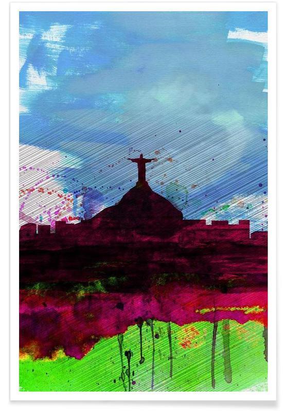 , Rio Watercolor Skyline affiche