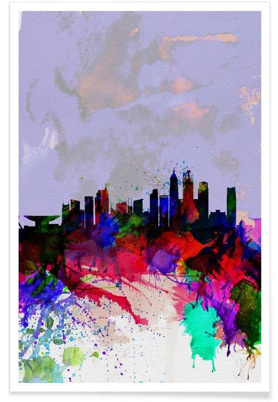 , Shanghai Watercolor Skyline affiche