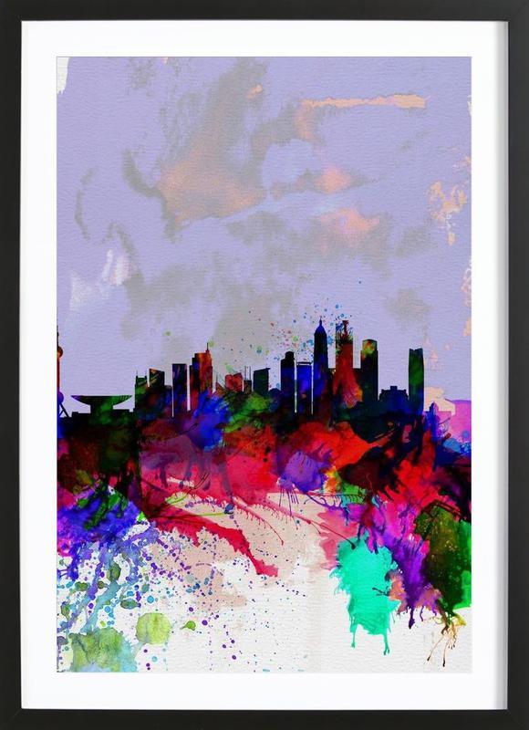 Shanghai Watercolor Skyline ingelijste print