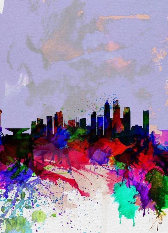 Shanghai Watercolor Skyline canvas doek
