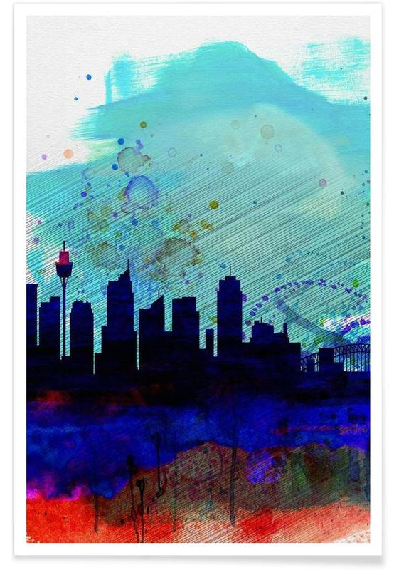 Sydney Watercolor Skyline -Poster