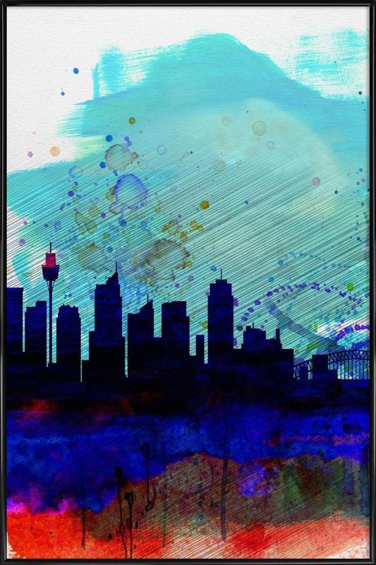 Sydney Watercolor Skyline Framed Poster