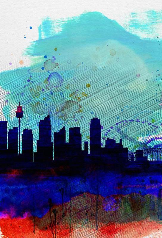 Sydney Watercolor Skyline Aluminium Print