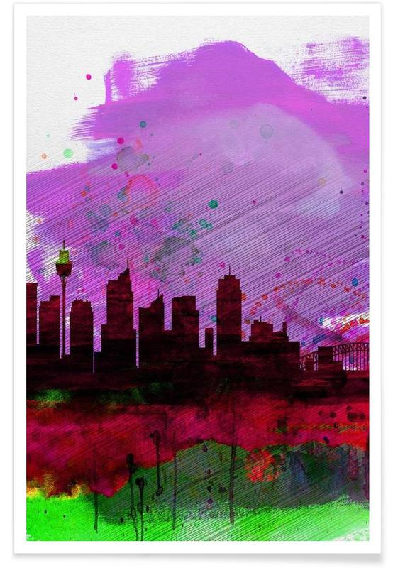 Sydney Watercolor Skyline 2 affiche
