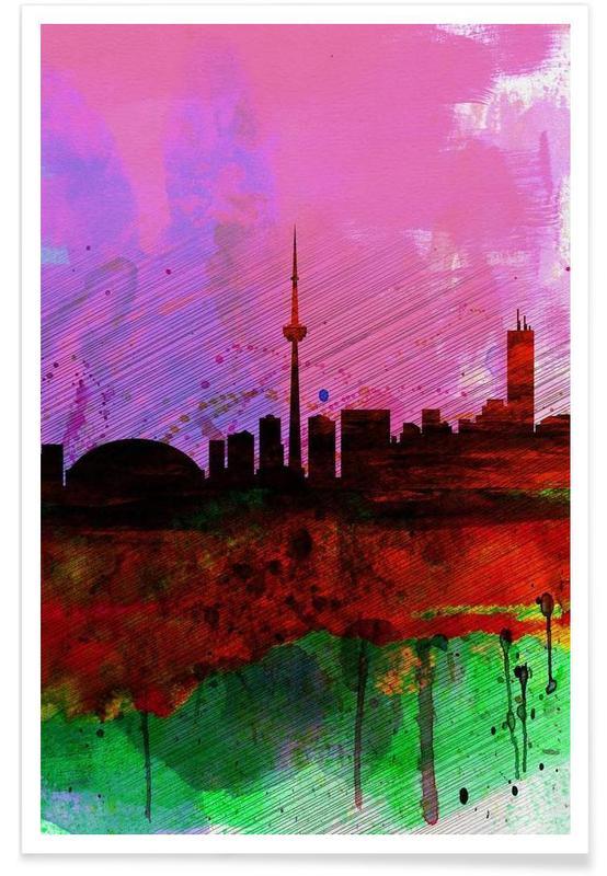 , Toronto Watercolor Skyline affiche