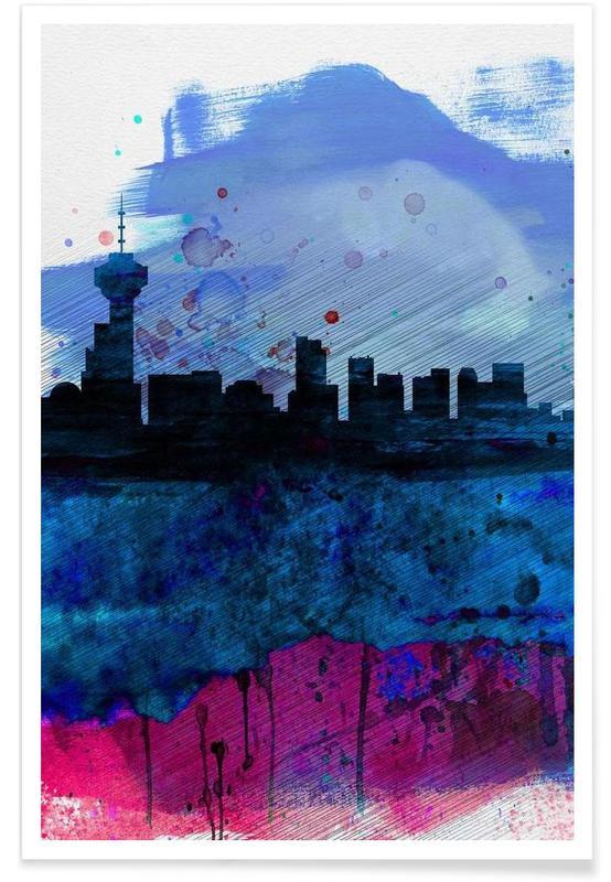 Vancouver Watercolor Skyline affiche