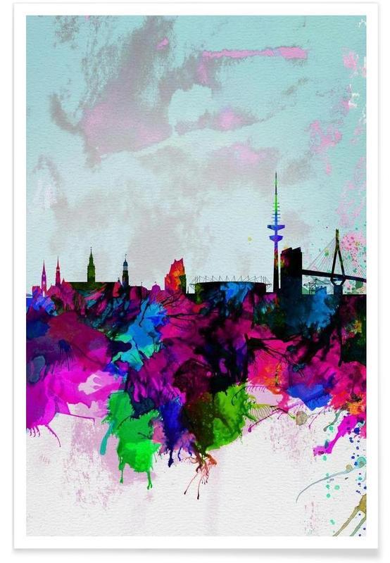 Hambourg, Hamburg Watercolor Skyline affiche