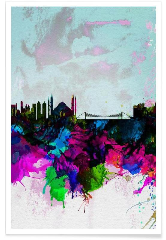 Istanbul, Istanbul Watercolor Skyline affiche