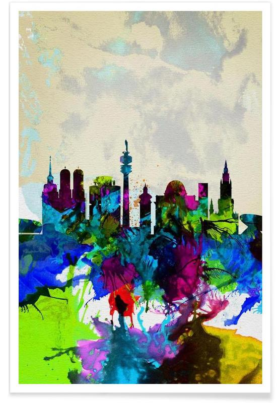 Munich Watercolor Skyline Poster