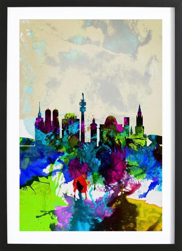 Munich Watercolor Skyline Framed Print