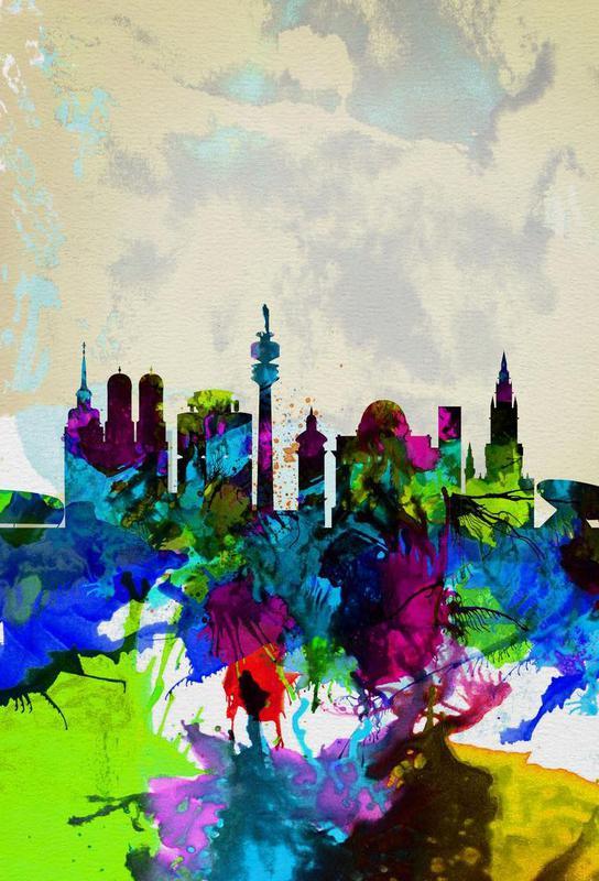 Munich Watercolor Skyline Aluminium Print