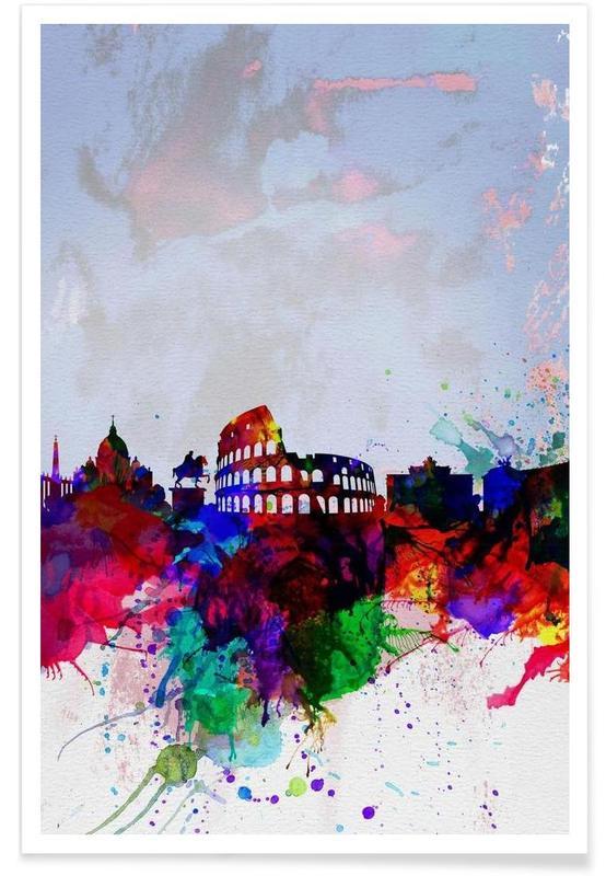 Rome, Rome Watercolor Skyline affiche