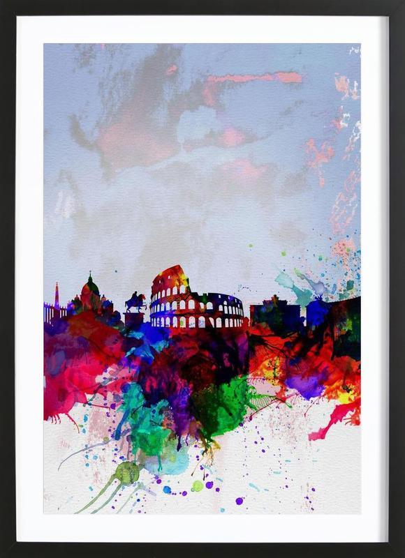 Rome Watercolor Skyline affiche sous cadre en bois