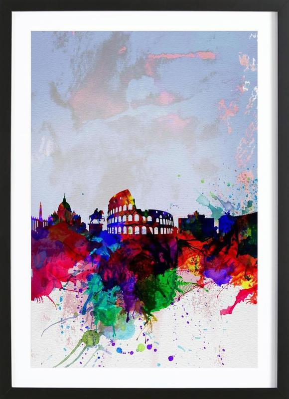 Rome Watercolor Skyline Framed Print