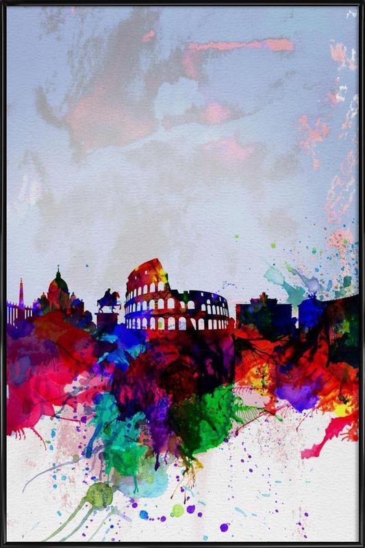 Rome Watercolor Skyline ingelijste poster
