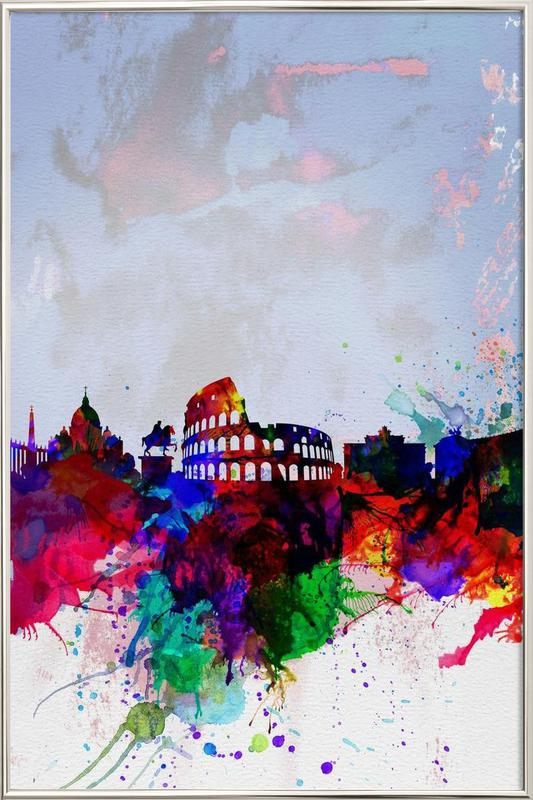 Rome Watercolor Skyline Poster in Aluminium Frame