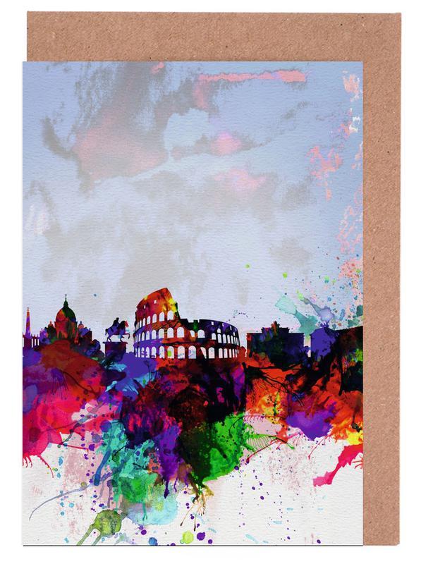 Rome Watercolor Skyline -Grußkarten-Set