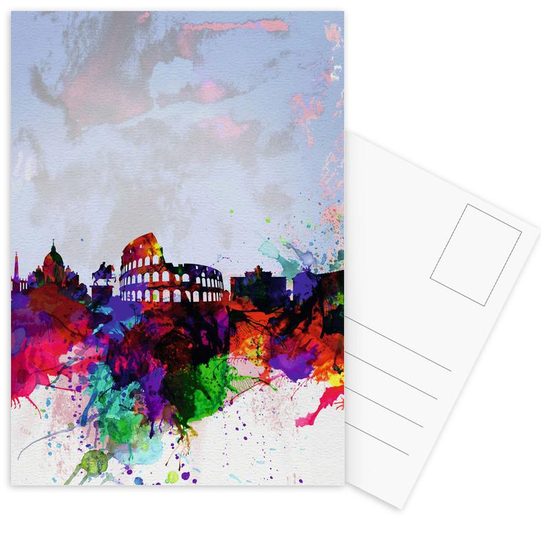Rome Watercolor Skyline Postcard Set