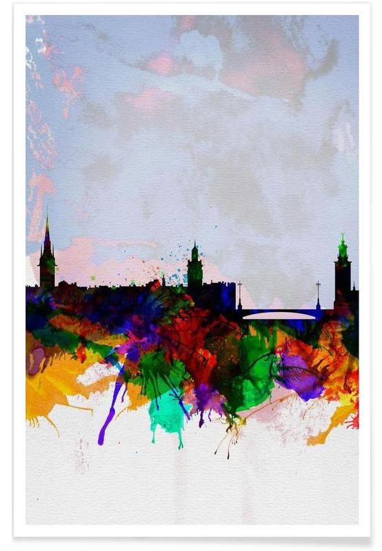 Stockholm Watercolor Skyline poster
