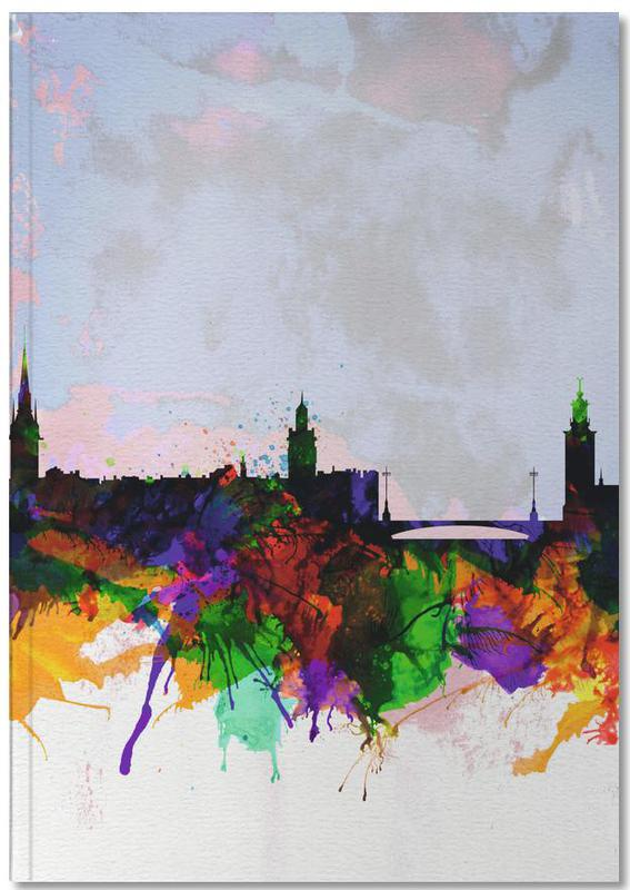 Stockholm Watercolor Skyline Notebook