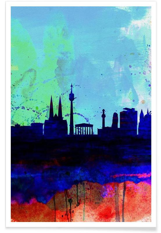 Vienna Watercolor Skyline poster