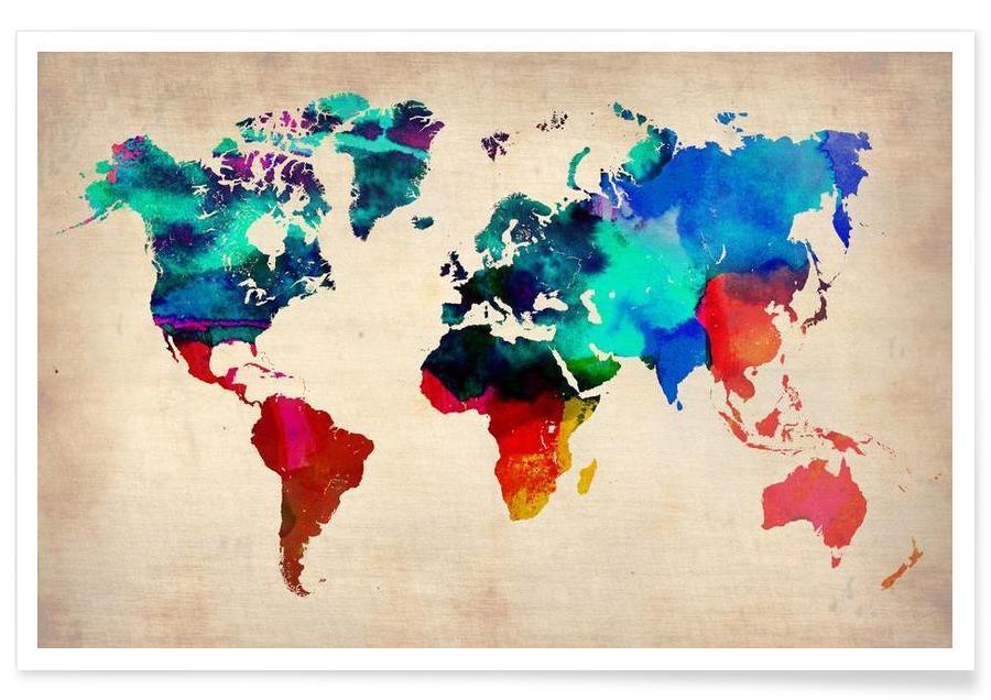 Cartes du monde, Monde - Carte en aquarelle affiche