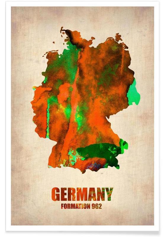 Cartes de pays, Allemagne - Carte en aquarelle affiche