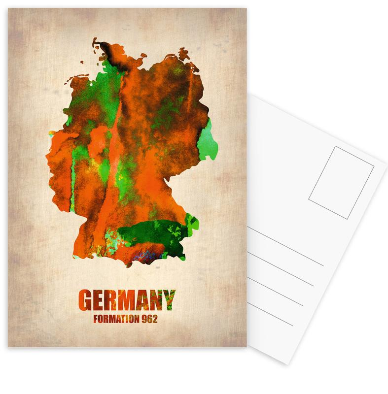 Country Maps, Germany Watercolor Map Postcard Set