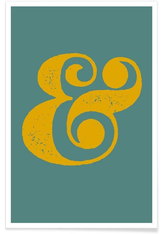 Symbolen, Ampersand Poster Blue and Yellow poster