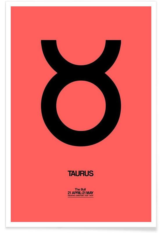 Symbolen, Taurus Zodiac Sign Black poster