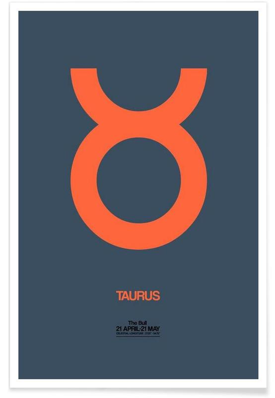 Symbole, Taurus Zodiac Sign Orange -Poster