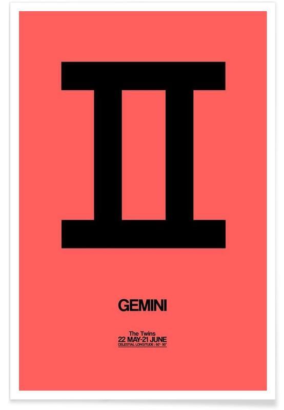 Symbole, Gemini Zodiac Sign Black -Poster