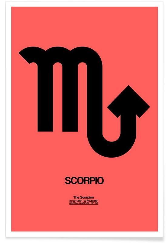 Symbolen, Scorpio Zodiac Sign Black poster
