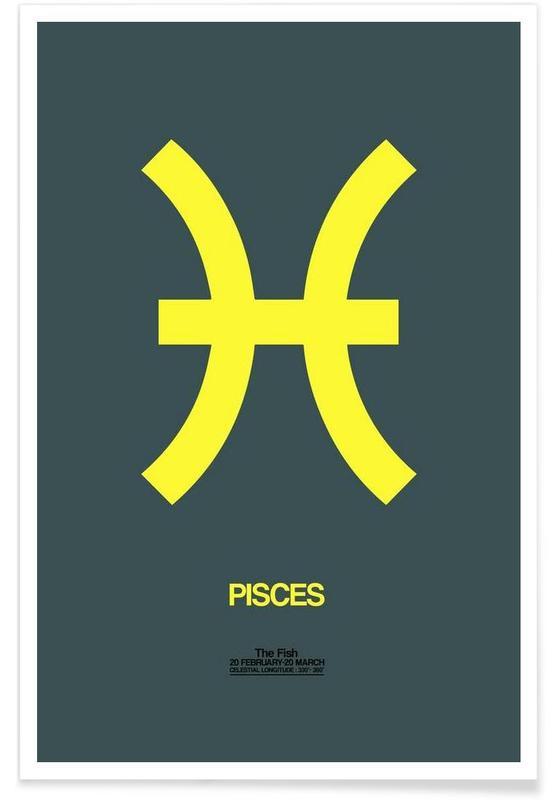 Symbole, Pisces Zodiac Sign Yellow -Poster