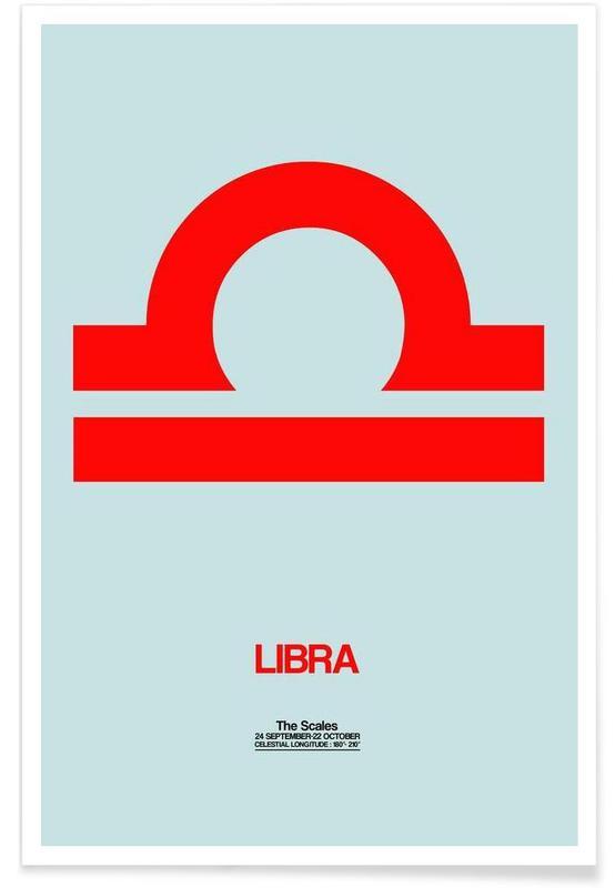 Symbole, Libra Zodiac Sign Red -Poster