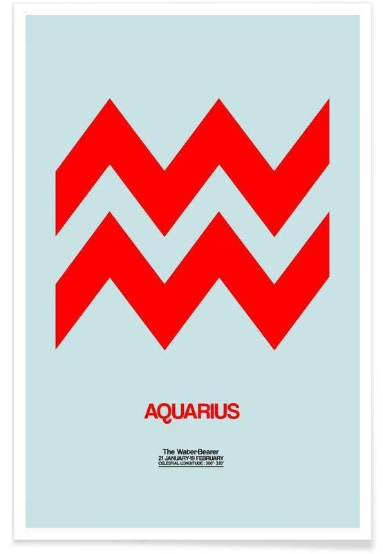 Symbolen, Aquarius Zodiac Sign Red poster