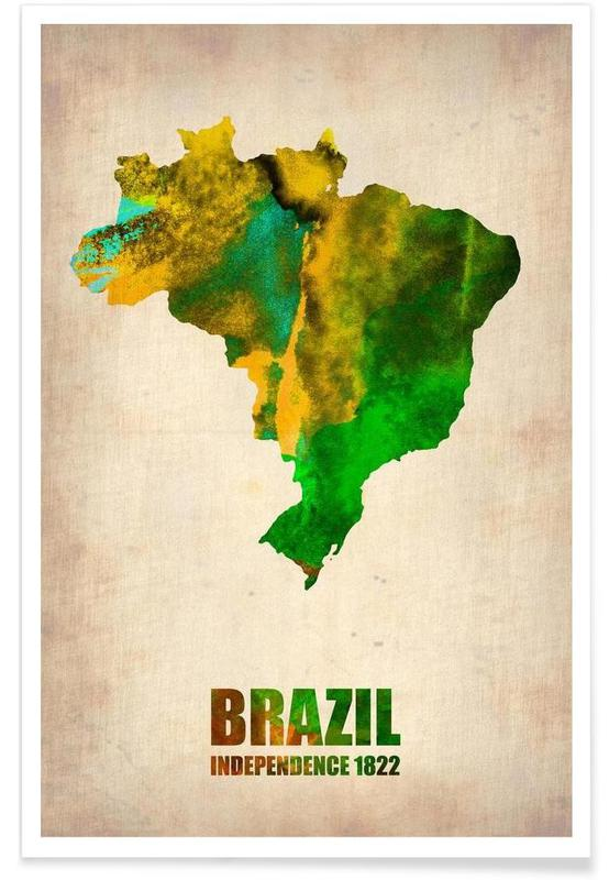 Landkort, Rejser, Brazil Watercolor Map Plakat