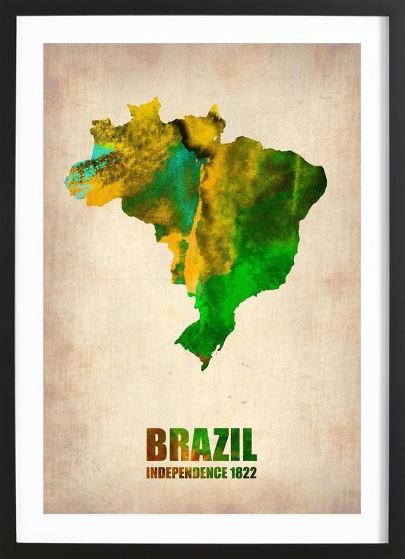 Brazil Watercolor Map -Bild mit Holzrahmen